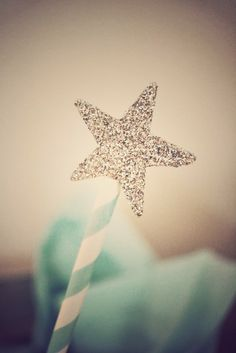 Sparkly star wands at a Tiffany's party!  See more party ideas at CatchMyParty.com!  #partyideas #tiffanys