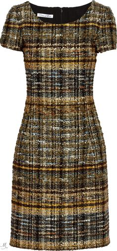Metallic tweed dress w/ kitten heels or w/ sneakers and jean jacket. Slim Fit Dresses, Casual Dresses, Fashion Dresses, Short Sleeve Dresses, Dresses For Work, Tailored Dresses, Metallic Mini Dresses, Tweed Dress, Discount Designer Clothes