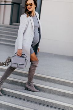 My Favorite Gray Classics from Nordstrom - Shalice Noel Trendy Outfits, Winter Outfits, Summer Outfits, Spring Fashion, Winter Fashion, Gray Boots, Pregnancy Clothes, Pregnancy Style, Bump Style