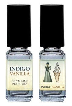 Indigo Vanilla by En Voyage Perfumes is a sweet, powdery, woody Oriental fragrance featuring white chocolate, milky notes, whipped cream, violet, sugar, amber and musk. - Fragrantica