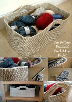 Time For Another Free Pattern: Beautiful Crochet Rope Basket. One of my favorite sites! Crochet Tote, Crochet Crafts, Crochet Yarn, Crochet Stitches, Crochet Patterns, Crochet Baskets, Yarn Projects, Crochet Projects, Yarn Storage
