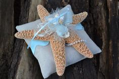 Blue Ring Bearer Pillow Beach Ring Pillow Starfish by OneFunDay, $28.00