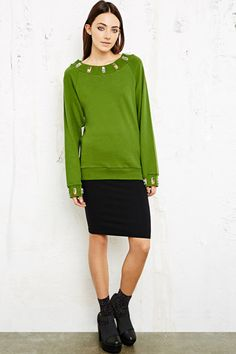 House of Holland Embellished Collar Sweatshirt at Urban Outfitters