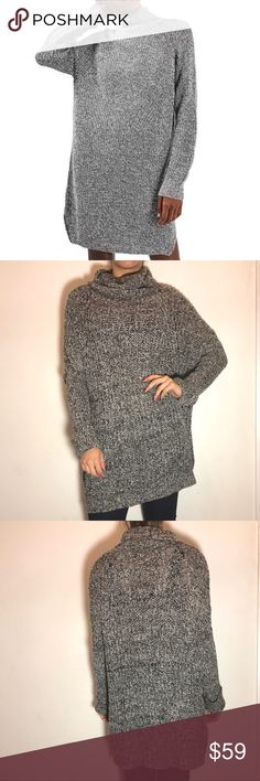 Topshop Gray Knit Sweater Dress Topshop Gray Knit Sweater Dress -Funnel neck. -Size US 6 UK 8, fits like a Small. -Excellent condition!  NO Trades. Please make all offers through offer button. Topshop Sweaters