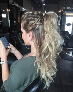 """from, depending on your style and the length of your hair. If you have mid to long hair and you live a hectic and busy life, occasionally you want to tie your hair back and … Continue reading Elegant Ponytail Hairstyles for Special Occasions"""" Braided Ponytail Hairstyles, Pretty Hairstyles, Hairstyle Ideas, Half Ponytail, Braid Ponytail, Makeup Hairstyle, Hairstyles 2016, Braid Hair, Short Hairstyles"""