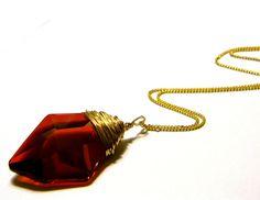 Sorcerer's Stone Pendant Necklace - Harry Potter Jewelery - 40 mm Swarovski Crystal - Wire Wrapped Philospoher's Stone - Gift Under 25, 50. $25.00, via Etsy.
