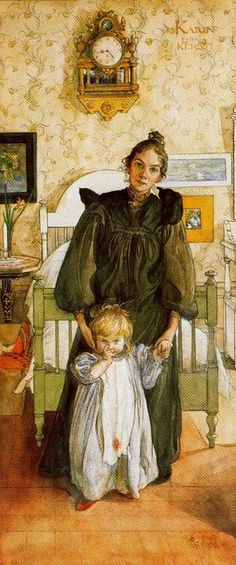 Karin and Kersti, Watercolour by Carl Larsson (1853-1919, Sweden)