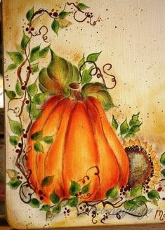 Decomagia - Pumpkin easy painting Decomagia - Easy country painting by Maja Zagorska Fall Canvas Painting, Autumn Painting, Autumn Art, Pumpkin Painting, Autumn Leaves, Tole Painting Patterns, Wood Patterns, Henna Patterns, Halloween Painting