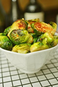 No Added Fat Roasted Brussels Sprouts and Garlic