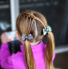 "47 Likes, 4 Comments - Tiffany ❤️ Hair For Toddlers (@easytoddlerhairstyles) on Instagram: ""Crossed feathered braid into pigtails. This is a 5-7 minute style depending on how much prep you…"""