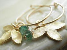 Spring Green Aventurine Petal Small Hoops In by AnnalisJewelry, $34.00
