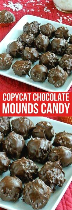 Homemade Chocolate Mounds Bars recipe has four ingredients. That's all it takes to make the candy bar classic. Not exactly a copy-cat in looks because it's served as balls but definitely ia copycat in taste. An easy and perfect vegan DIY! #moundscandy #moundsbars #homemademoundsbars #DIYmoundsbars #moundsbarsrecipe #veganmoundsbars #coconutmoundsbars