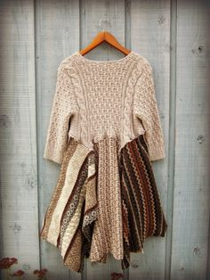 M-L Upcycled Sweater Tunic Top// Neutrals// Beige by emmevielle