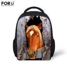 509736ed29 Stylish Animal Horse Printing School Backpacks Small Student Girls School  Bag Fashion Children Preschool Kindergarten Book