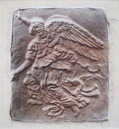 """Enrique Medina """"Arcangel"""" Acrílico sobre tela  71 x 68 cm. Firmado abajo a la derecha   http://www.portondesanpedro.com/ver-producto.php?id=12712"""