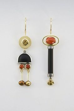 Earrings made of oxidized sterling silver, beryl, onyx, coral, pearl. Contemporary Jewellery, Modern Jewelry, Jewelry Art, Silver Jewelry, Jewelry Accessories, Fashion Jewelry, Unique Jewelry, Jewelry Ideas, Silver Earrings