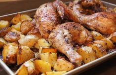 This one-pan supper is the Best Greek Chicken and Potatoes. It& loaded with garlicky flavor, oregano and loads of lemon. Greek Chicken And Potatoes, Greek Lemon Chicken, Greek Roasted Chicken, Greek Style Chicken, Cooking Recipes, Healthy Recipes, Delicious Recipes, Greek Recipes, Simply Recipes