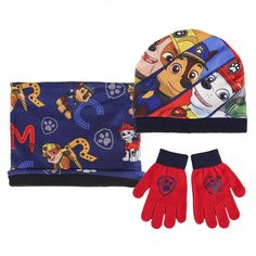 """Official Paw Patrol """"Chase, Rubble & Marshall"""" Character Hat, Snood & Glove Boys Kid 3 Piece Set. Size: About 51cm. Hat, Snood & Matching Gloves. Hat: Print: 100% Polyester, Lining: 100% Acrylic,. Glove: 79% Acrylic, 18% Polyester, 2% Elastodiene, 1% Elastane. Machine washable."""