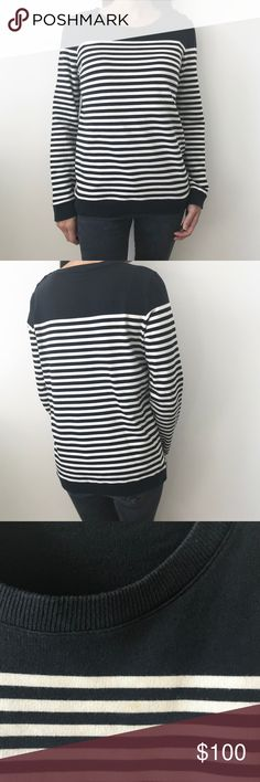 "A.P.C. Nautical Cotton Sweater Navy Blue Striped Classic navy & white stripe sweater from A.P.C. of France. 100% cotton. Retails for $175 online on sites like Farfetch.   Label says Size L, but runs small. Will fit a standard size M.   25"" length. 18.5"" from pit to pit (laying flat).   Has three buttons on left shoulder for a cute nautical look.  Faint, barely noticeable stain below the collar on the second white stripe from the top (shown in 3rd photo). Otherwise in great condition! APC…"
