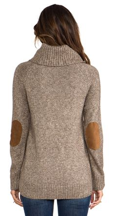 Cowl Neck Reglan with Suede Patches
