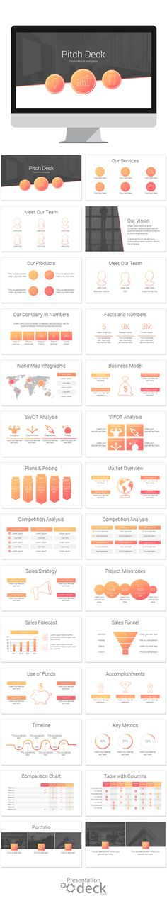 Pitch Deck PowerPoint template with 28 pre-designed slides. Modern and clean, this template is fully editable and made with vector-based graphics. This is the perfect PowerPoint deck to give a quick overview of your business! via @pptdeck