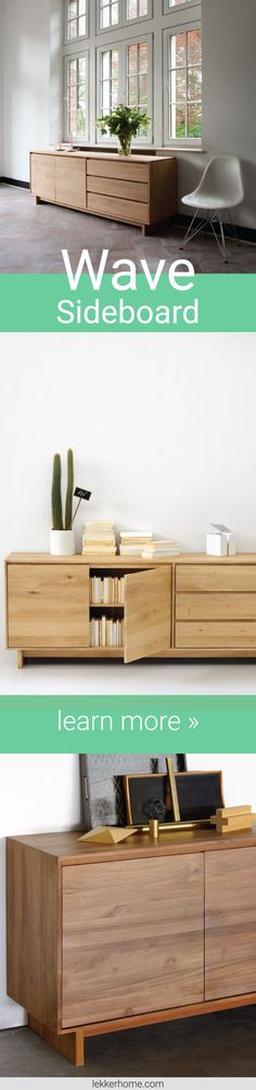 Living room storage can be both beautiful and stylish! Ethnicraft's Wave Sideboard features solid wood construction, soft-close drawers and Scandinavian design. Now available as a quick ship item!