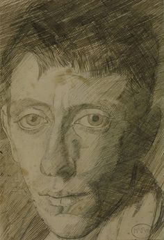 Ambrose McEvoy (1878-1927) Selfportrait. Pencil, pen and ink. 1900. 18x13cms. (Tate)