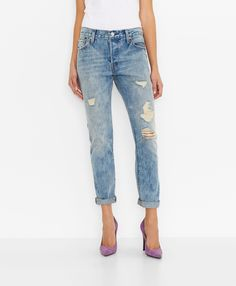 Levi's 501® CT Jeans for Women - Torn Indigo - Boyfriend