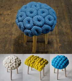 'Knit stools' by Claire-anne O'Brien, London Design Festival Crochet Art, Crochet Home, Crochet Crafts, Diy Crafts, Chunky Crochet, Knitting Projects, Crochet Projects, Knitting Patterns, Crochet Patterns