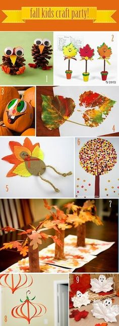 Fall Kids Craft Party Ideas -- fun for them to do while the turkey is cooking! (happy fall crafts for kids) Kids Crafts, Fall Crafts For Kids, Thanksgiving Crafts, Crafts To Do, Preschool Crafts, Holiday Crafts, Holiday Fun, Art For Kids, Autumn Art Ideas For Kids