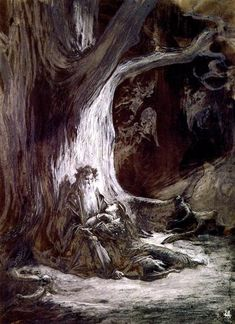 Vivien and Merlin - Gustave Dore