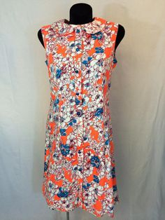 Vintage 1960s Hot Orange Floral Liberty by InTheRoughFashion