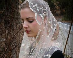 Evintage Veils~Elegant Black and Gold Floral Lace Vintage Inspired Mantilla Chapel Veil Classic D Shape Chapel Veil, String Of Pearls, Lace Border, Chantilly Lace, Cream White, Our Lady, Embroidered Lace, Floral Lace, Blush Pink