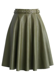 Faux Leather Belted Midi Skirt in Olive  I THINK I MISSED THE MEMO BECAUSE I'M SEEING OLIVE EVERYWHERE