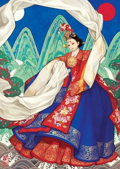 Coronet dance - Women in Hanbok by woohnayoung on DeviantArt Korean Traditional Dress, Traditional Dresses, Traditional Art, Korean Art, Asian Art, Korean Style, Korean Illustration, Disney Illustration, Korean Painting