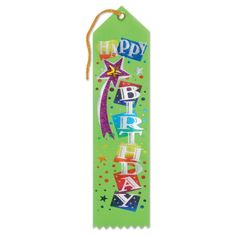 "Pack of 6 Green ""Happy Birthday"" Jeweled Party Favor Ribbon Bookmarks 8"