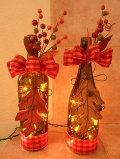 All of these wine bottle handicrafts present you with a ton of methods to reuse and reinvented this daily piece, Are you going to opt to salvage your desired grape flask or repurpose it? Fall Wine Bottles, Wine Bottle Corks, Glass Bottle Crafts, Painted Wine Bottles, Lighted Wine Bottles, Decorated Bottles, Glass Bottles, Wine Glass, Diy Projects For Fall
