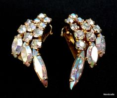 Earrings Clip On Aurora Borealis Rhinestone Shooting Stars Angel Wings Claw Set