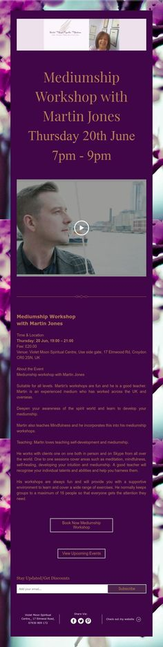 Mediumship Workshop with Martin Jones Thursday June - 20 June, Self Healing, Best Teacher, Upcoming Events, Self Development, Thursday, Promotion, Workshop, Spirituality