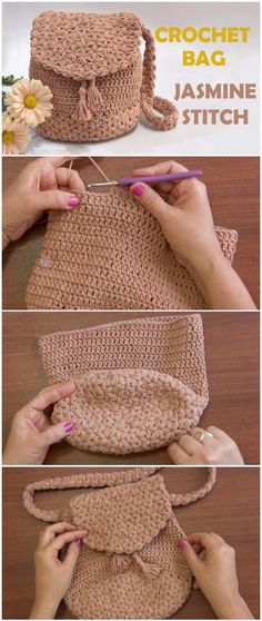 Crochet Bag Jasmine Stitch Free Pattern [Video] Knitting For BeginnersKnitting FashionCrochet ProjectsCrochet Ideas Bag Crochet, Crochet Shell Stitch, Crochet Handbags, Crochet Purses, Crochet Crafts, Crochet Baby, Crochet Stitches, Crochet Ideas, Diy Crochet Clothes