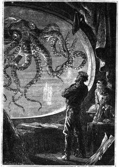 that's a large porthole.Engraving of Captain Nemo viewing a giant squid from a porthole of the Nautilus submarine, from 20000 Lieues Sous les Mers by Jules Verne. By Alphonse de Neuville and Edouard Riou. Arte Sci Fi, Sci Fi Art, Jules Verne, Le Kraken, Art Science Fiction, Nautilus Submarine, Sci Fi Kunst, Motif Art Deco, Octopus Print