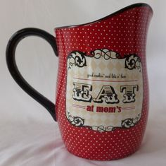 Certified International Eat at Mom's Drink Pitcher Ceramic Black & Red #Mom'sDay #gift for Mom Iced Tea, Lemonaide pitcher