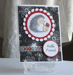 Stamped Hedgehog Card  Ladybug  Handmade greeting by catSCRAPPIN