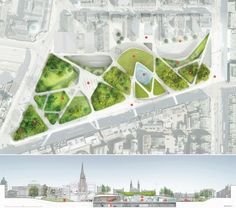 Image 8 of 14 from gallery of Diller Scofidio + Renfro selected to transform the center of Aberdeen. Proposed Site - Rendering provided by the Diller Scofidio + Renfro submission boards Landscape And Urbanism, Landscape Design Plans, Landscape Architecture Design, Urban Landscape, Park Landscape, Landscaping Design, Architecture Site Plan, Architecture Graphics, Urbane Analyse