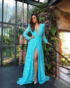 Blue v neck lace long prom dress formal dress CR Long Sleeve Evening Dresses, Cheap Evening Dresses, Prom Dresses, Formal Dresses, Elegant Dresses, Vestidos Tiffany, Party Wear, Party Dress, Vestidos Color Azul