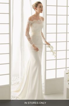 Free shipping and returns on Rosa Clara 'Dado' Lace Overlay Column Dress (In Stores Only) at Nordstrom.com. This wedding gown can't be purchased online but is available for special order in our in-store Wedding Suites. Special orders ship within 8–16 weeks. Please call 1.888.300.1295 to find a Wedding Suite near you or Book an appointment online.From a bridal collection inspired by the divas of the 1930s and 40s (but given a very modern sensibility) a curve-skimming, strapless gown enchants…