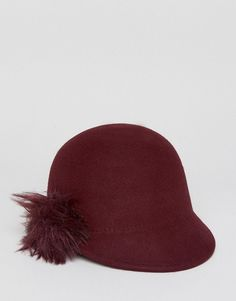 Ted Baker Felt Hat with Faux Fur Pompom - Red