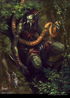 Artist: Bayard Wu aka bayardwu - Title: yellow snake - Card: Bloodthirsty Zammed