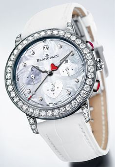 Blancpain. The Saint-Valentin Chronograph watch Calibre F185 in white gold with diamonds, cabochon-cut rubies with a white leather strap. POA.