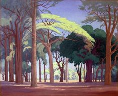 Artist: Jacobus Hendrik Pierneef (South African, 1886 - painted landscape to the virtual exclusion of everything else. He developed a very distinctive style; Landscape Art, Landscape Paintings, Landscape Prints, Abstract Paintings, Art Paintings, South African Artists, Pastel, First Art, Tree Art